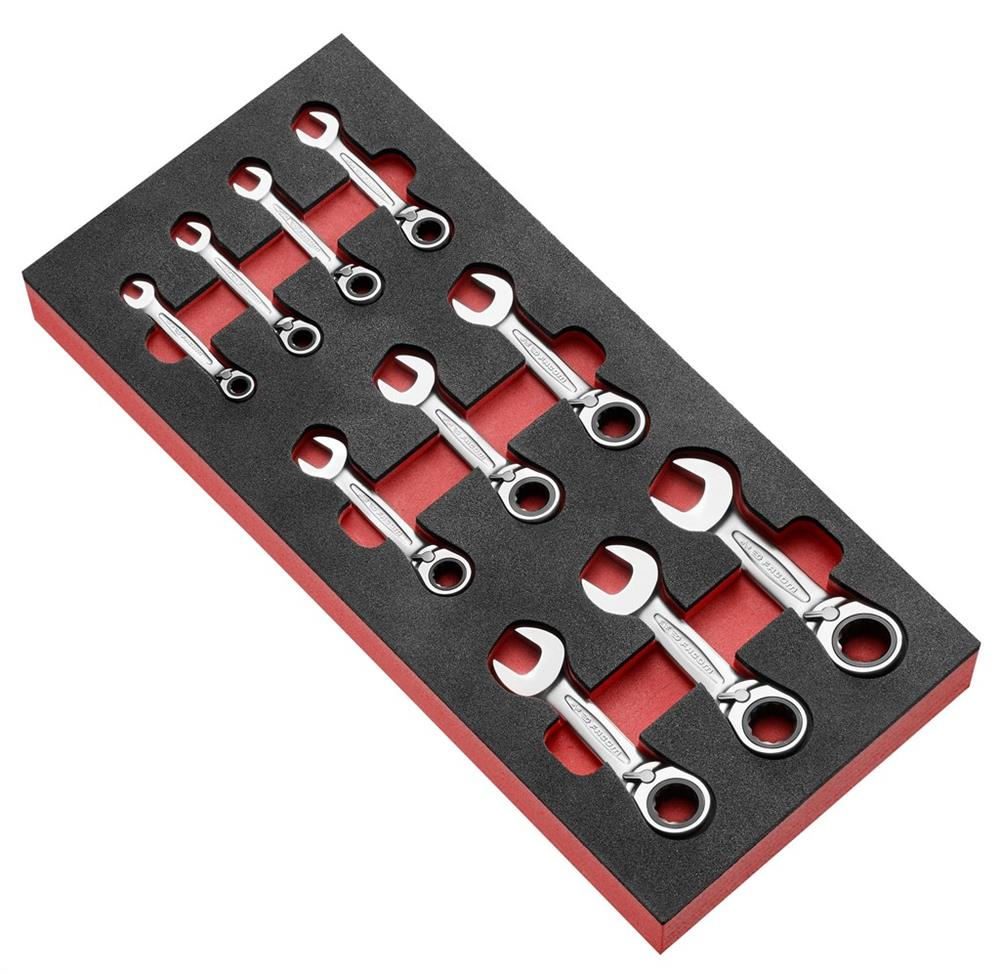 Módulo espuma de 10 llaves mixtas con trinquete c PEGAMO